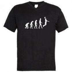 Мужская футболка  с V-образным вырезом Basketball Evolution - FatLine