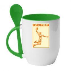 Кружка з керамічною ложкою Basketball fan