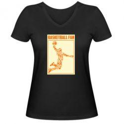 Жіноча футболка з V-подібним вирізом Basketball fan