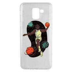Чехол для Samsung J6 Basketball player and space