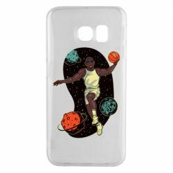 Чехол для Samsung S6 EDGE Basketball player and space