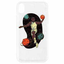 Чехол для iPhone XR Basketball player and space