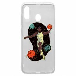 Чехол для Samsung A20 Basketball player and space