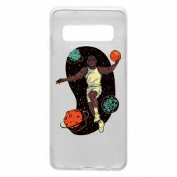 Чехол для Samsung S10 Basketball player and space