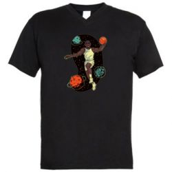 Мужская футболка  с V-образным вырезом Basketball player and space
