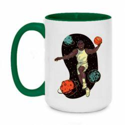 Кружка двухцветная 420ml Basketball player and space