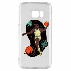 Чехол для Samsung S7 Basketball player and space