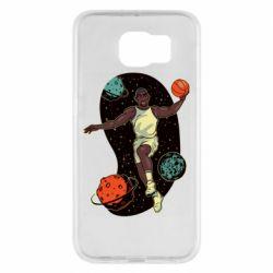 Чехол для Samsung S6 Basketball player and space