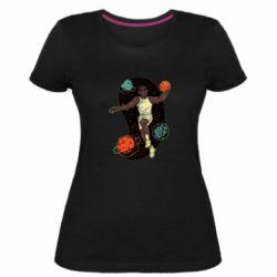 Женская стрейчевая футболка Basketball player and space