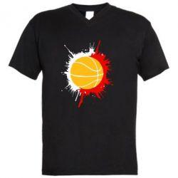 Мужская футболка  с V-образным вырезом Баскетбольный мяч - FatLine