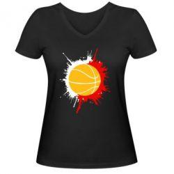 Женская футболка с V-образным вырезом Баскетбольный мяч - FatLine