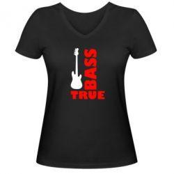 Женская футболка с V-образным вырезом Bass True - FatLine