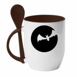 Кружка з керамічною ложкою Bat