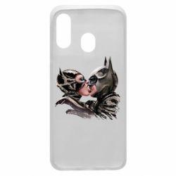Чехол для Samsung A40 Batman and Catwoman Kiss