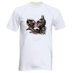 Мужская спортивная футболка Batman and Catwoman Kiss