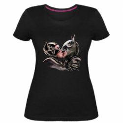 Женская стрейчевая футболка Batman and Catwoman Kiss