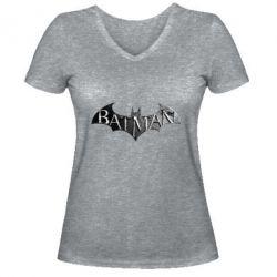 Женская футболка с V-образным вырезом Batman: arkham city
