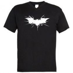 Мужская футболка  с V-образным вырезом Batman cracks - FatLine