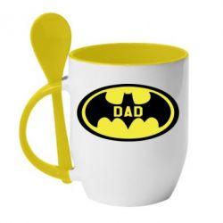 Кружка з керамічною ложкою Batman dad