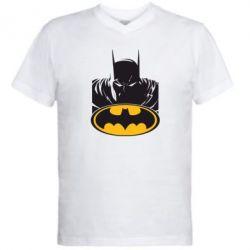 Мужская футболка  с V-образным вырезом Batman face - FatLine