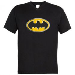 Мужская футболка  с V-образным вырезом Batman Gold Logo - FatLine