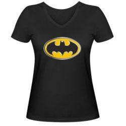 Женская футболка с V-образным вырезом Batman Gold Logo - FatLine