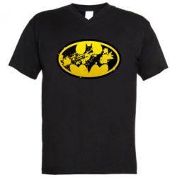 Мужская футболка  с V-образным вырезом Batman Graffiti - FatLine