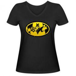 Женская футболка с V-образным вырезом Batman Graffiti - FatLine