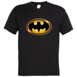 Мужская футболка  с V-образным вырезом Batman logo Gold - FatLine