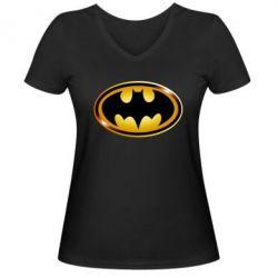 Женская футболка с V-образным вырезом Batman logo Gold - FatLine