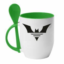 Кружка з керамічною ложкою Batman three line