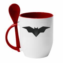 Кружка с керамической ложкой Batman unusual logo