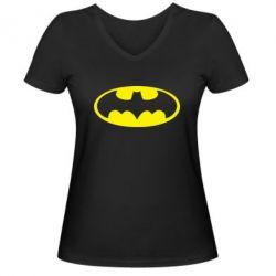 Женская футболка с V-образным вырезом Batman - FatLine