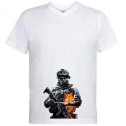 Мужская футболка  с V-образным вырезом Battlefield Warrior - FatLine