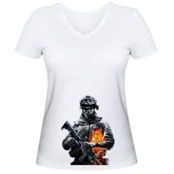 Женская футболка с V-образным вырезом Battlefield Warrior