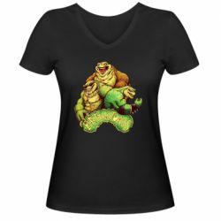 Женская футболка с V-образным вырезом Battletoads art