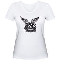 Женская футболка с V-образным вырезом Байк с крыльями - FatLine