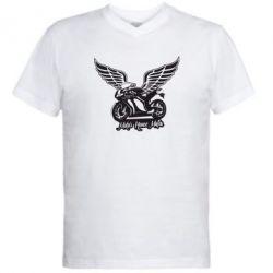 Мужская футболка  с V-образным вырезом Байк с крыльями - FatLine