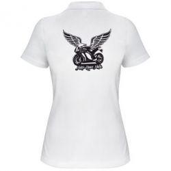 Женская футболка поло Байк с крыльями - FatLine