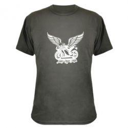 Камуфляжная футболка Байк с крыльями - FatLine