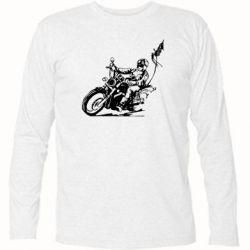 Футболка с длинным рукавом Байкер на мотоцикле - FatLine