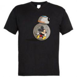 Мужская футболка  с V-образным вырезом BB-8 and Mickey Mouse