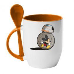 Кружка с керамической ложкой BB-8 and Mickey Mouse