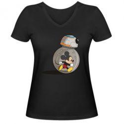 Женская футболка с V-образным вырезом BB-8 and Mickey Mouse