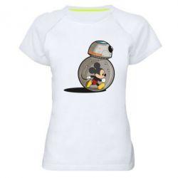 Женская спортивная футболка BB-8 and Mickey Mouse