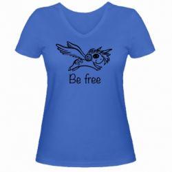 Жіноча футболка з V-подібним вирізом Be free unicorn