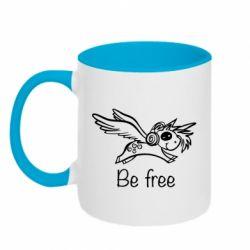 Кружка двоколірна 320ml Be free unicorn