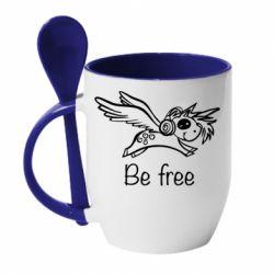Кружка з керамічною ложкою Be free unicorn