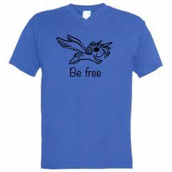 Чоловіча футболка з V-подібним вирізом Be free unicorn