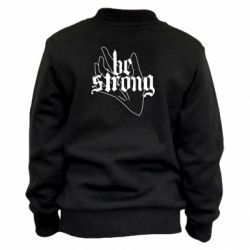 Детский бомбер Be strong lettering